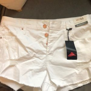 Perfect white distressed shorts